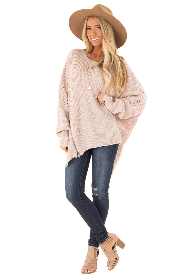 Blush Textured Sweater with Side Zipper Detail front full body