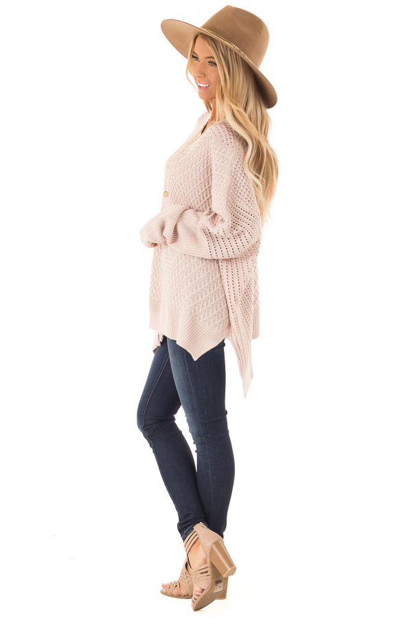 Blush Textured Sweater with Side Zipper Detail side full body