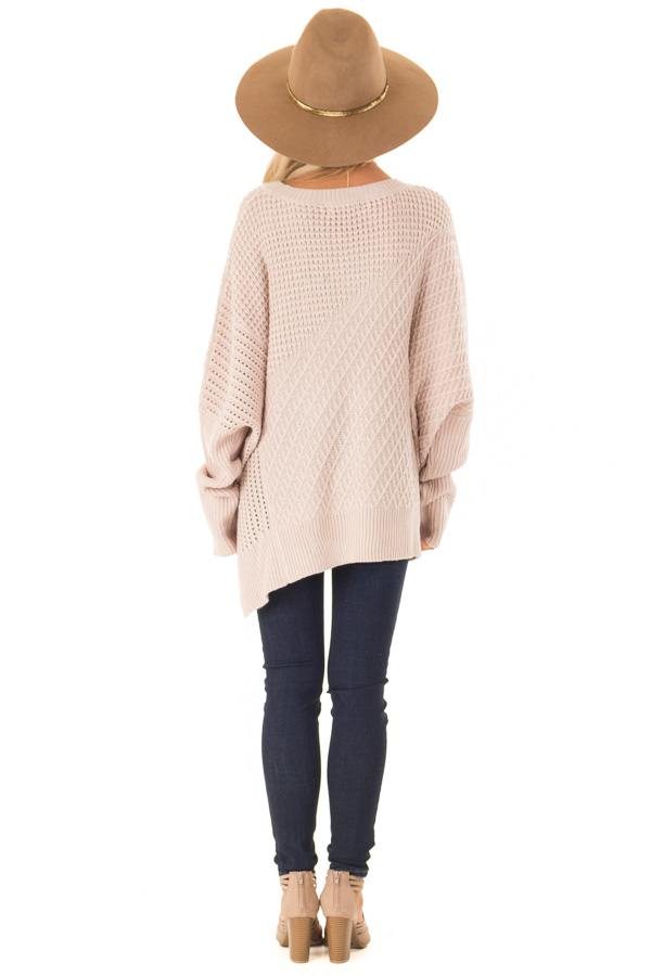 Blush Textured Sweater with Side Zipper Detail back full body