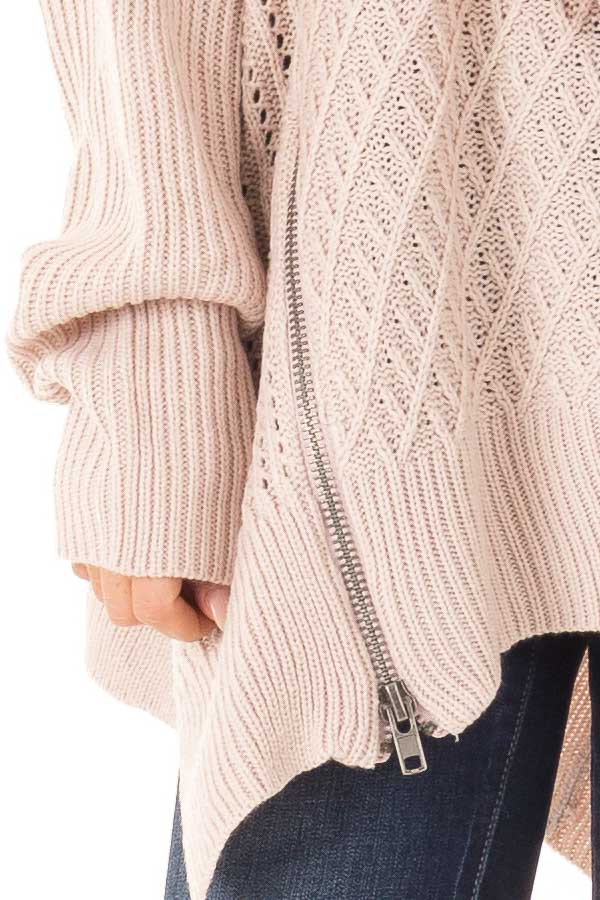 Blush Textured Sweater with Side Zipper Detail detail