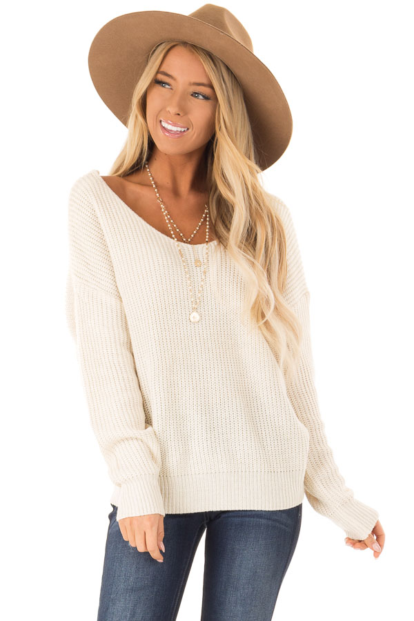 cd2328176c ... Off White Knit Sweater with Twisted Open Back front close up ...
