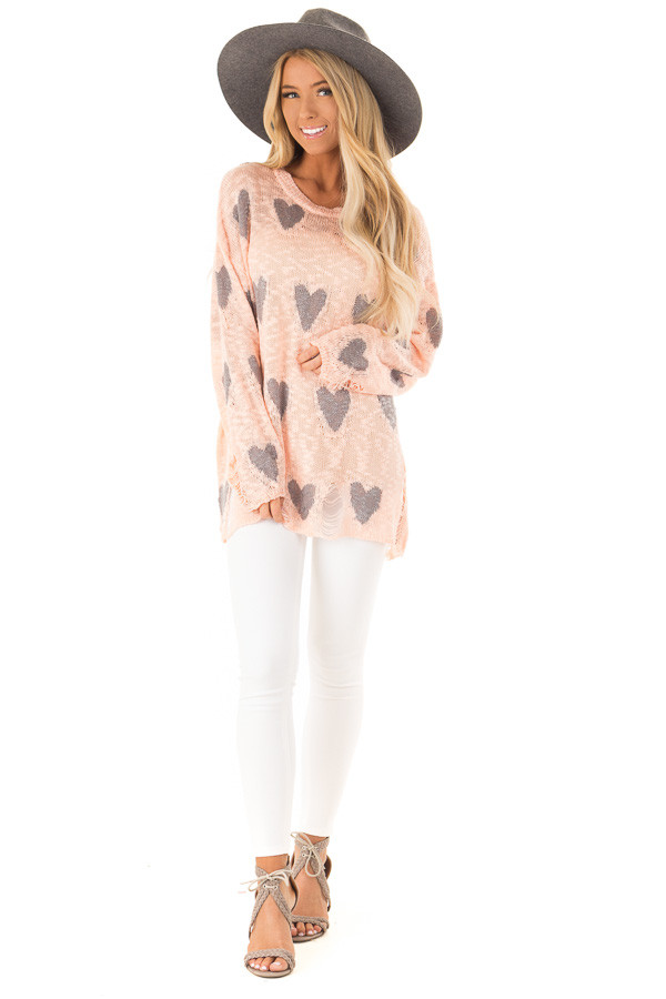 Blush and Grey Heart Distressed Long Sleeve Relaxed Fit Top front full body