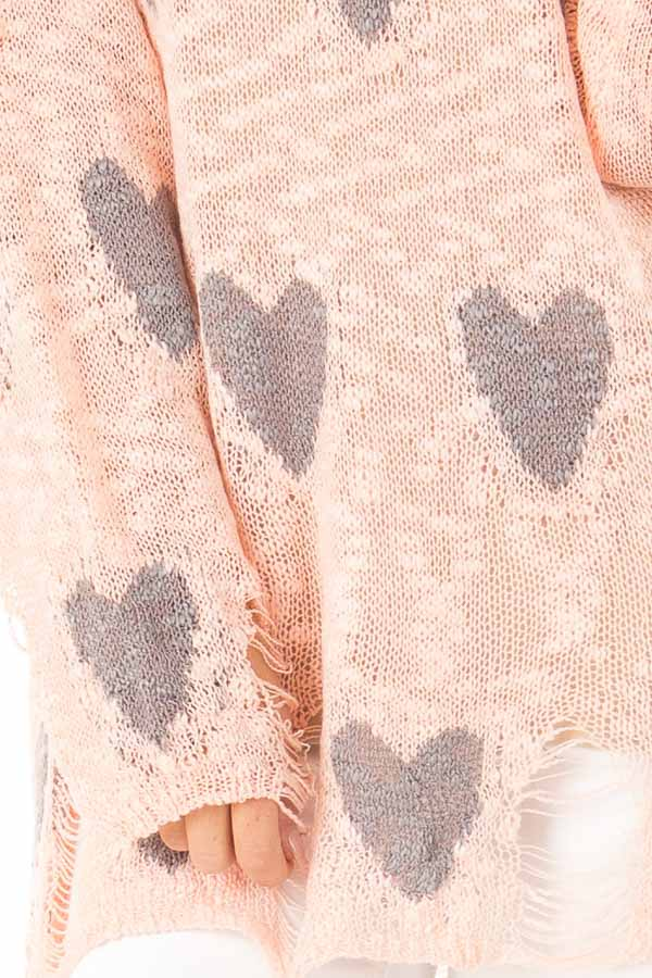 Blush and Grey Heart Distressed Long Sleeve Relaxed Fit Top detail