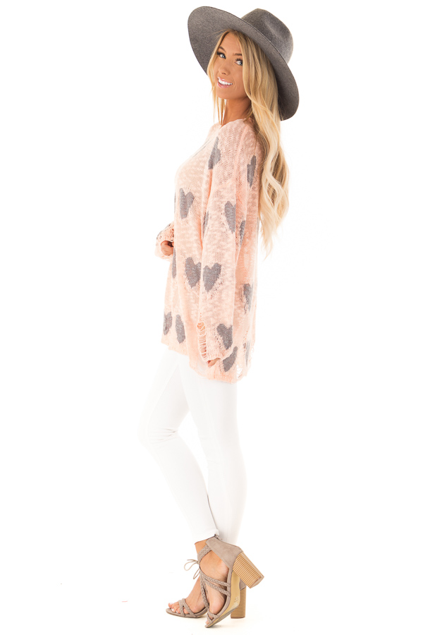 Blush and Grey Heart Distressed Long Sleeve Relaxed Fit Top side full body