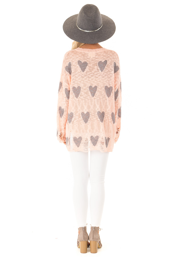 Blush and Grey Heart Distressed Long Sleeve Relaxed Fit Top back full body