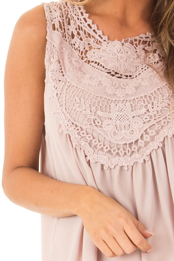 Dusty Mauve Chiffon Blouse with Detailed Crochet Neckline detail