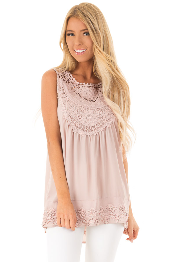 Dusty Mauve Chiffon Blouse with Detailed Crochet Neckline front close up