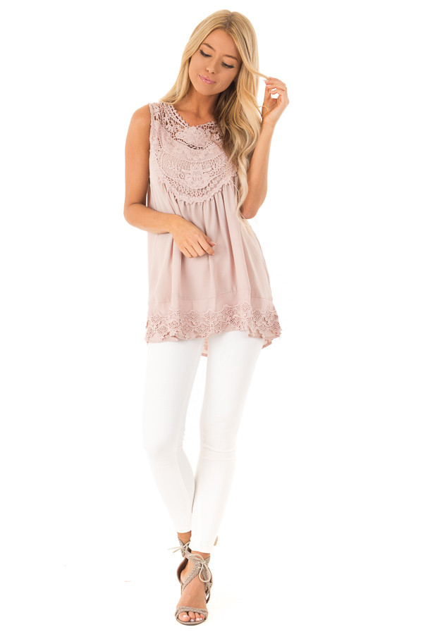 Dusty Mauve Chiffon Blouse with Detailed Crochet Neckline front full body
