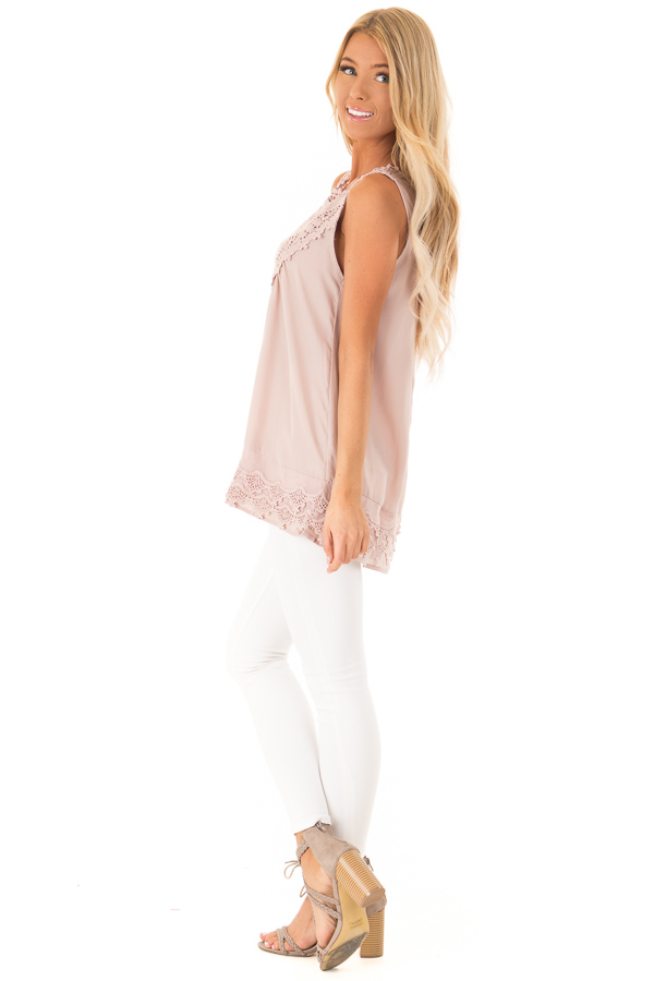 Dusty Mauve Chiffon Blouse with Detailed Crochet Neckline side full body