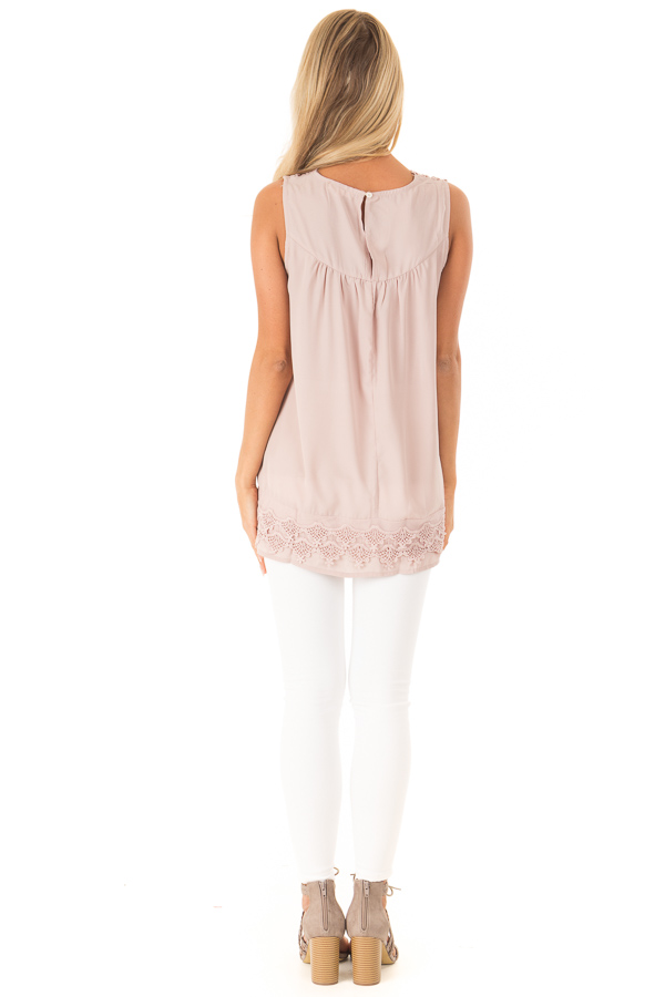 Dusty Mauve Chiffon Blouse with Detailed Crochet Neckline back full body
