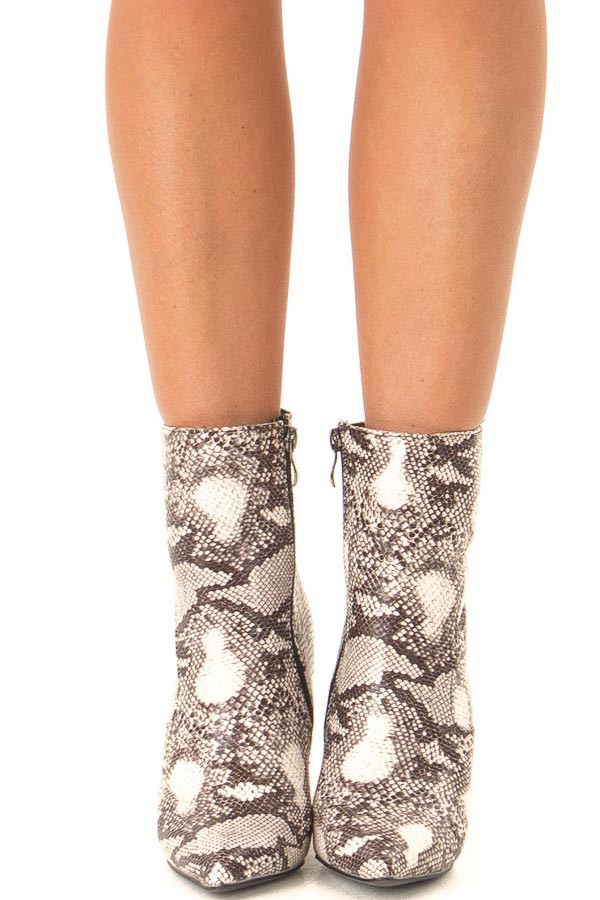 Taupe Snake Skin Chunky Heel Ankle Booties with Pointed Toe front view