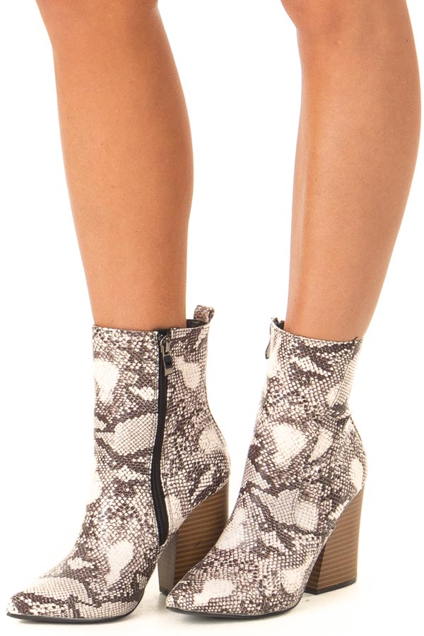 Taupe Snake Skin Chunky Heel Ankle Booties with Pointed Toe side view