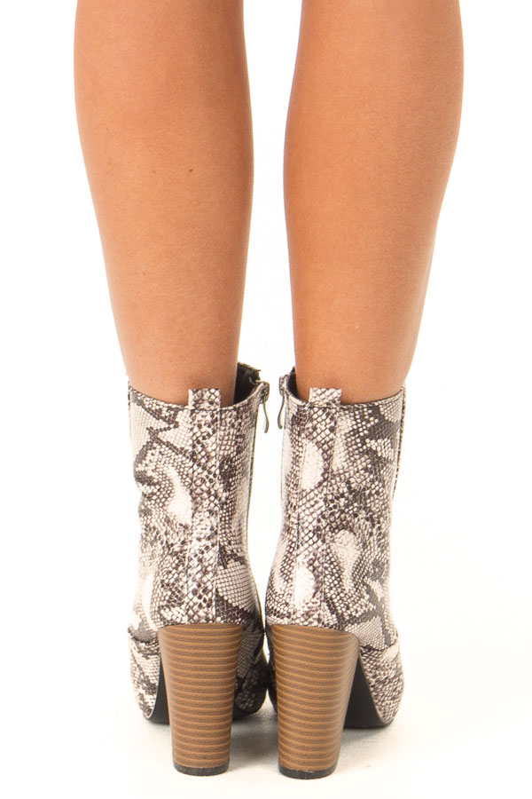 Taupe Snake Skin Chunky Heel Ankle Booties with Pointed Toe back view