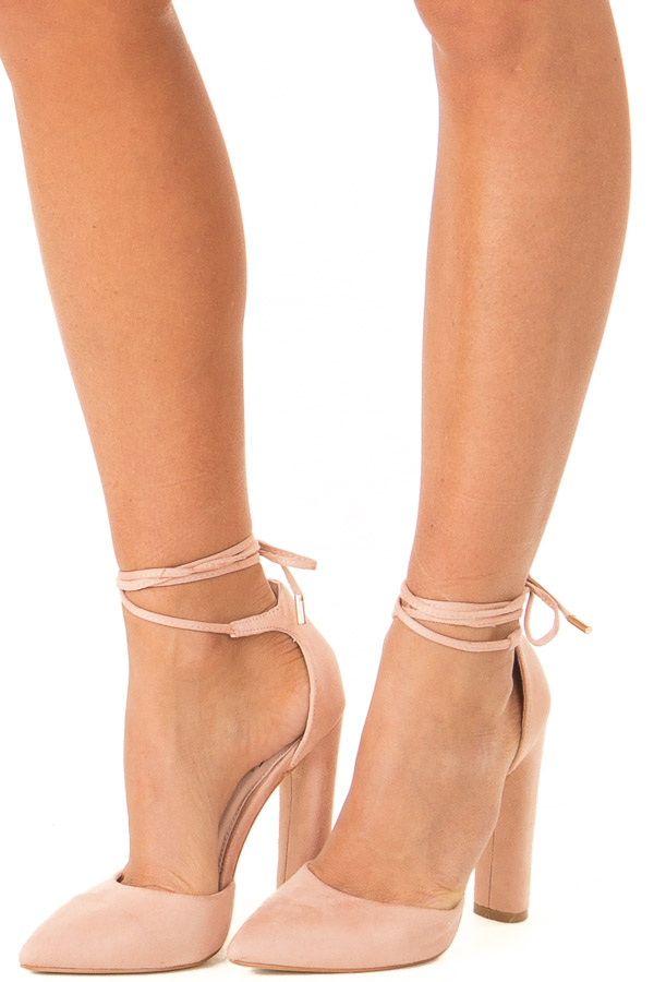 Blush Pink Faux Suede Strappy Pump with Pointed Toe side view