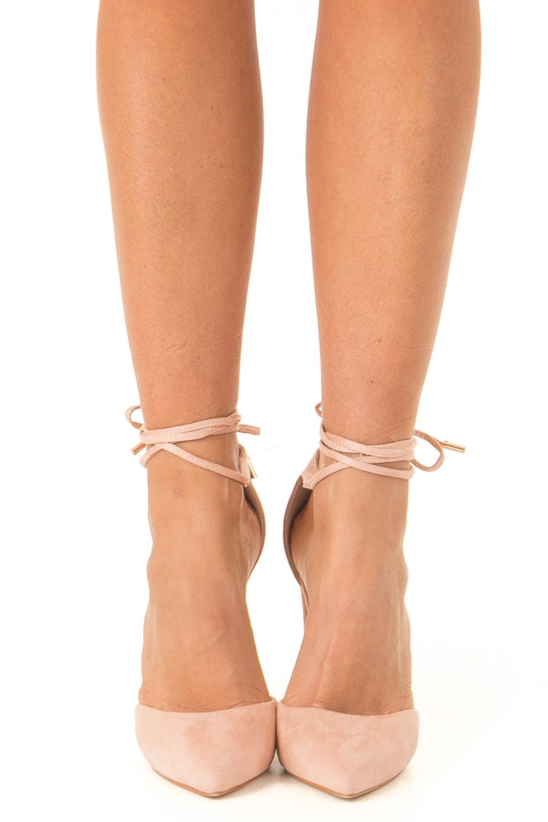 Blush Pink Faux Suede Strappy Pump with Pointed Toe front view