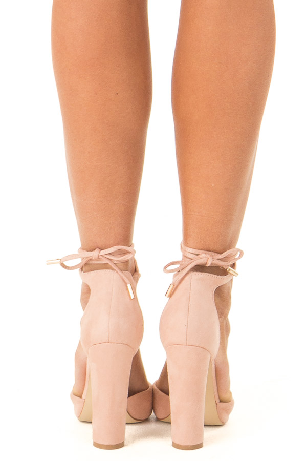 Blush Pink Faux Suede Strappy Pump with Pointed Toe back view