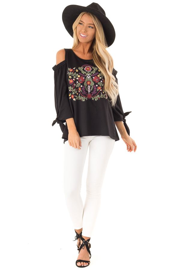 d29e1df2cfdd02 Raven Black Cold Shoulder Top with Embroidered Floral Detail front full  body ...