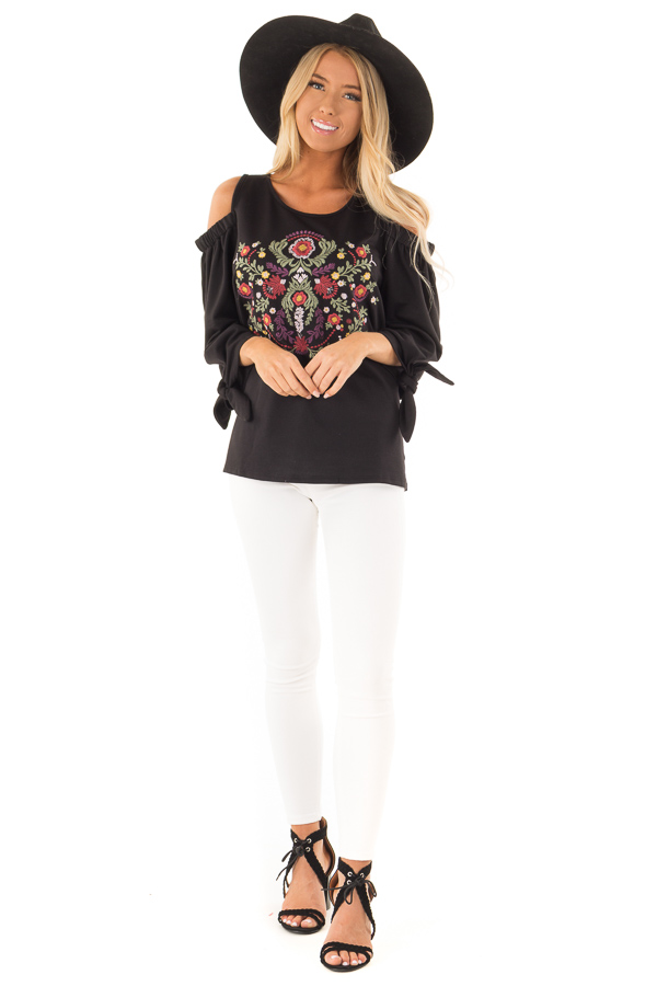 91529d390b051f ... Raven Black Cold Shoulder Top with Embroidered Floral Detail front full  body ...