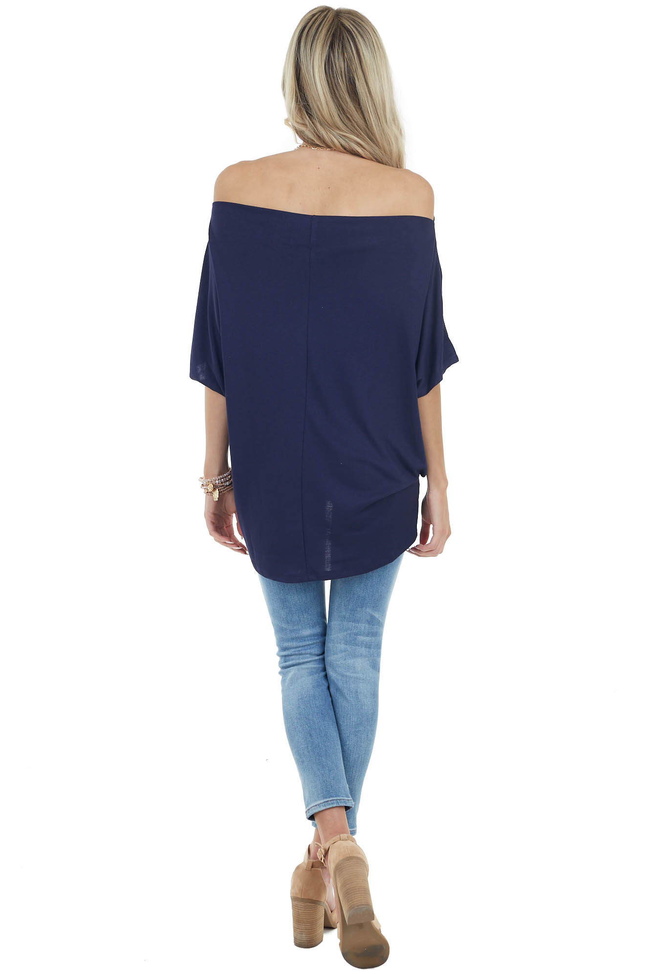 Navy Short Sleeve Off the Shoulder Top with Twisted Front