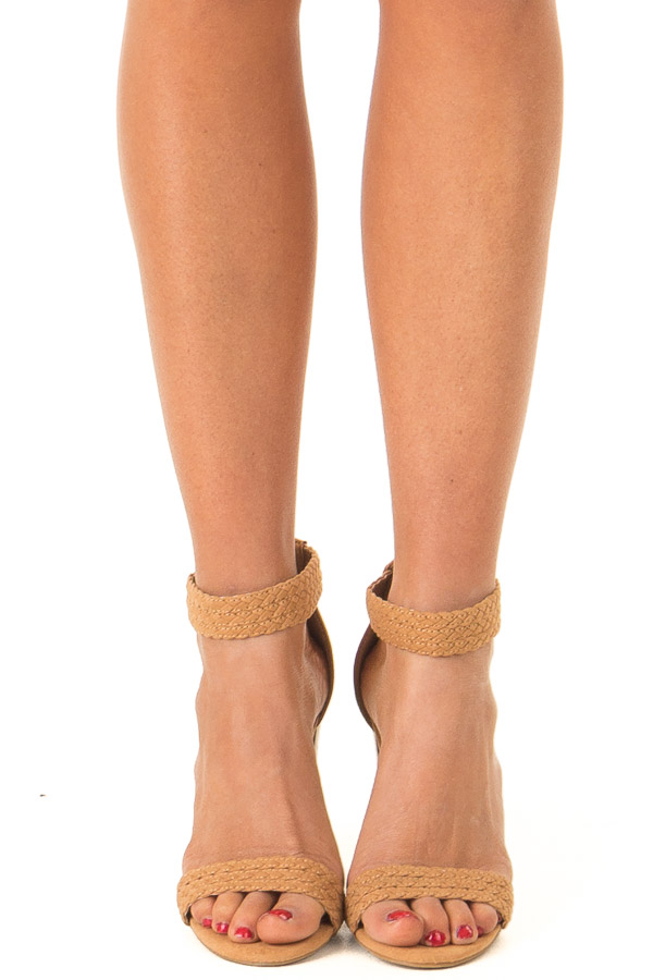 Tan Braided Open Toe Heels with Zipper front view