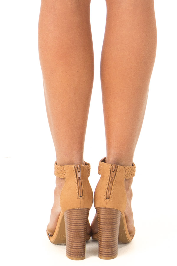 Tan Braided Open Toe Heels with Zipper back view
