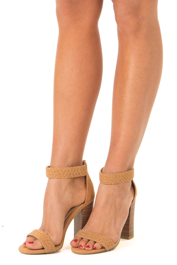 Tan Braided Open Toe Heels with Zipper side view