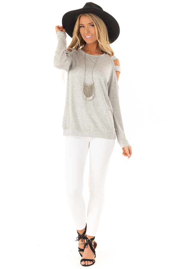 Heather Grey Cold Shoulder Knit Top with Long Sleeves front full body