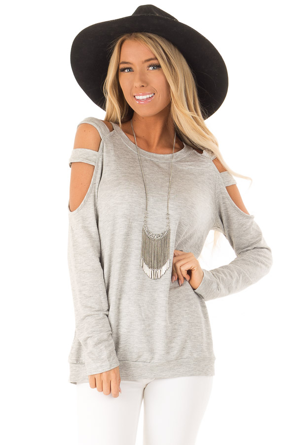 Heather Grey Cold Shoulder Knit Top with Long Sleeves front close up