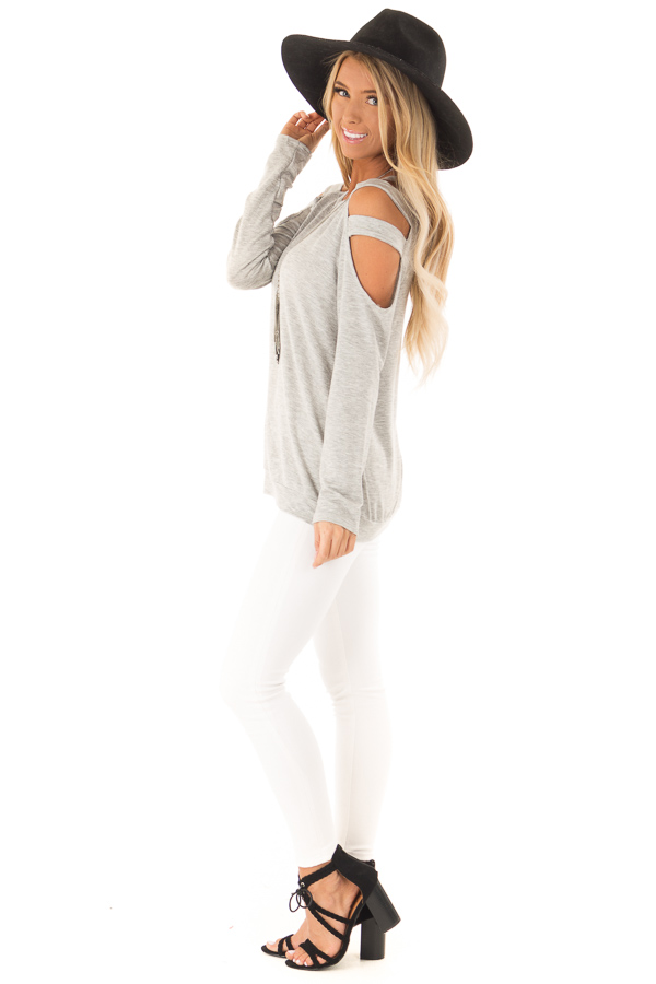 Heather Grey Cold Shoulder Knit Top with Long Sleeves side full body