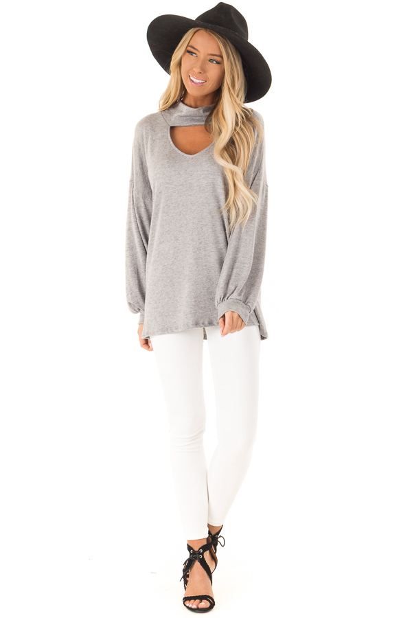 Heather Grey Mock Neck Long Sleeve Top with Cutout Detail front full body