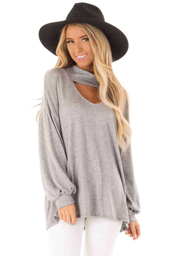 Heather Grey Mock Neck Long Sleeve Top with Cutout Detail