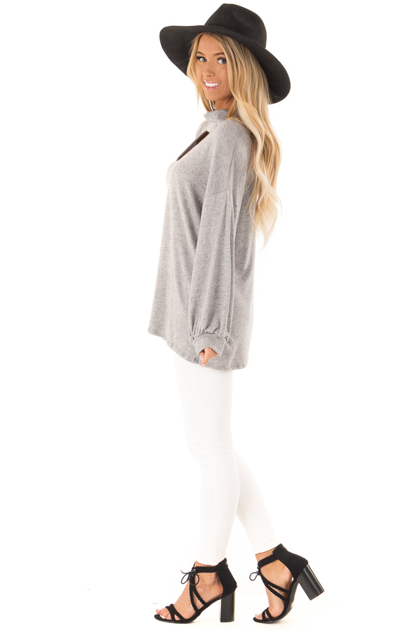 Heather Grey Mock Neck Long Sleeve Top with Cutout Detail side full body