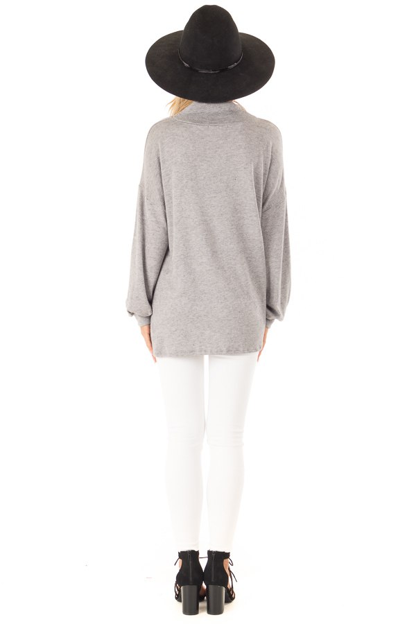 Heather Grey Mock Neck Long Sleeve Top with Cutout Detail back full body