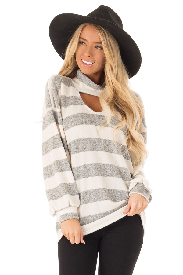 Heather Grey and Ivory Striped Top with Front Cutout Detail front close up