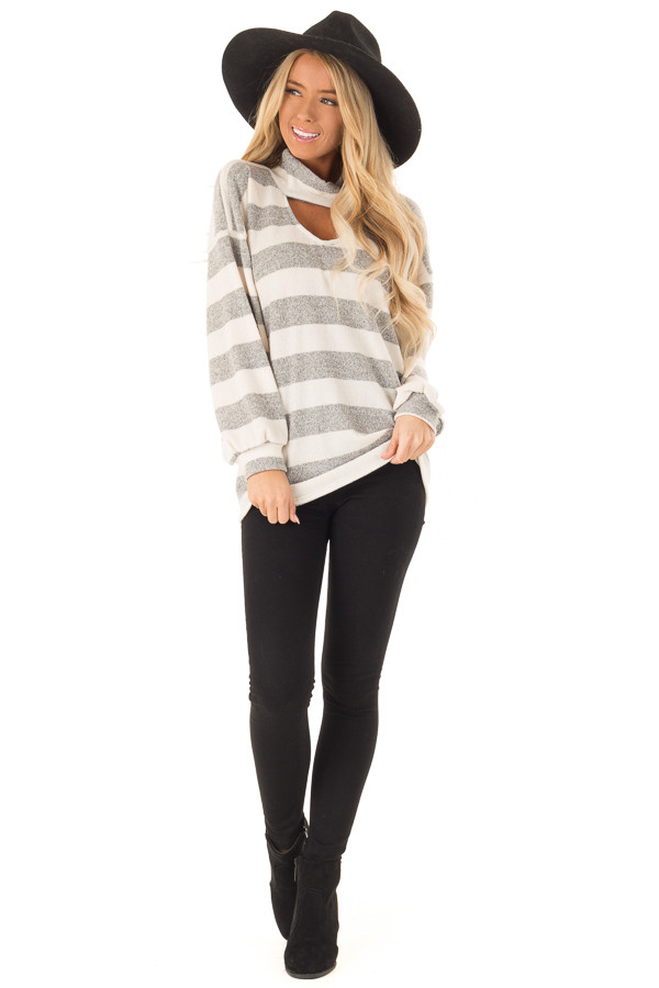 Heather Grey and Ivory Striped Top with Front Cutout Detail front full body