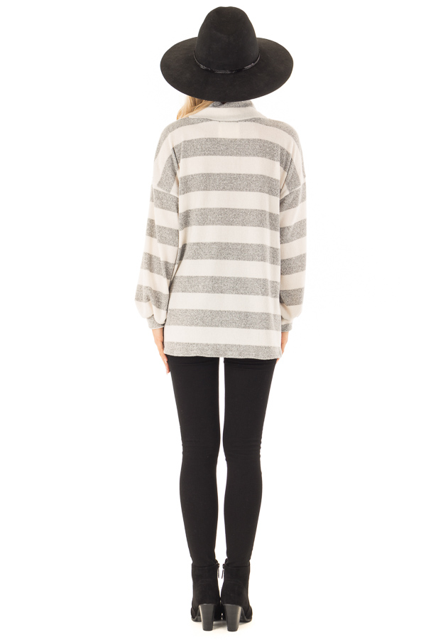 Heather Grey and Ivory Striped Top with Front Cutout Detail back full body