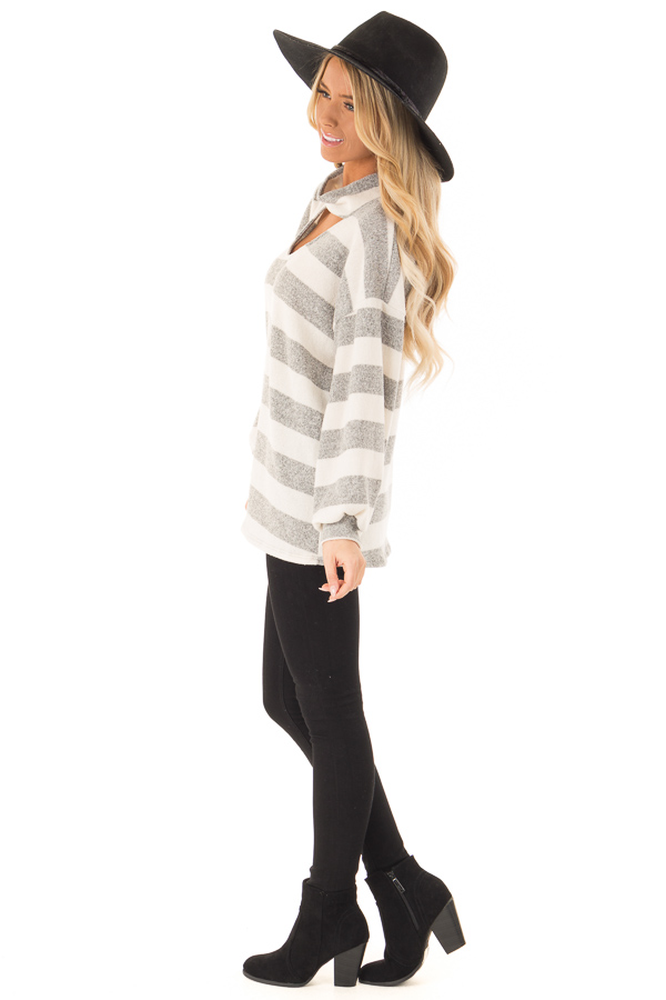 Heather Grey and Ivory Striped Top with Front Cutout Detail side full body