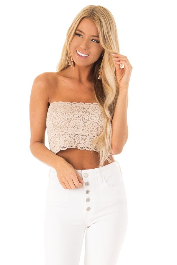 Nude Lace Bandeau Bra with Scallop Detail front close up