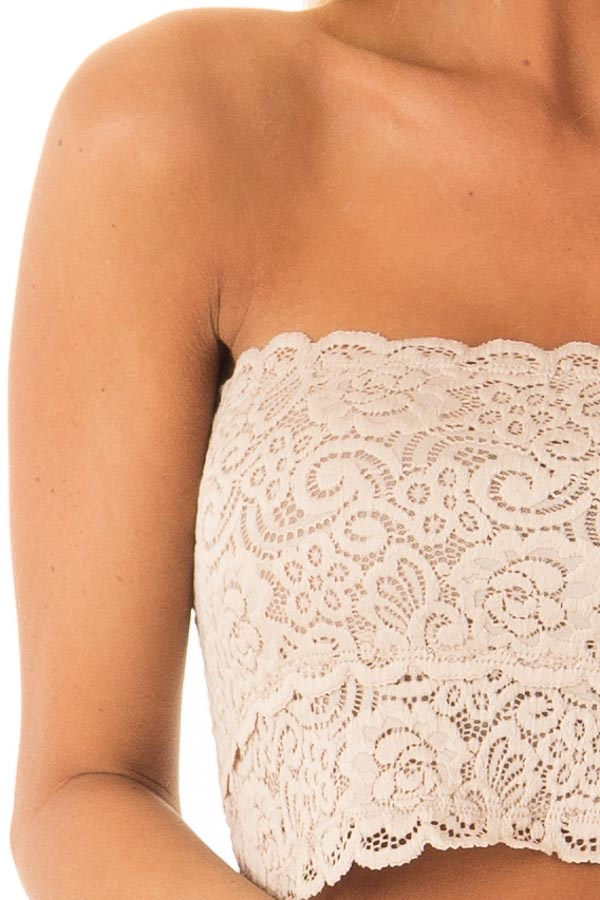 Nude Lace Bandeau Bra with Scallop Detail detail