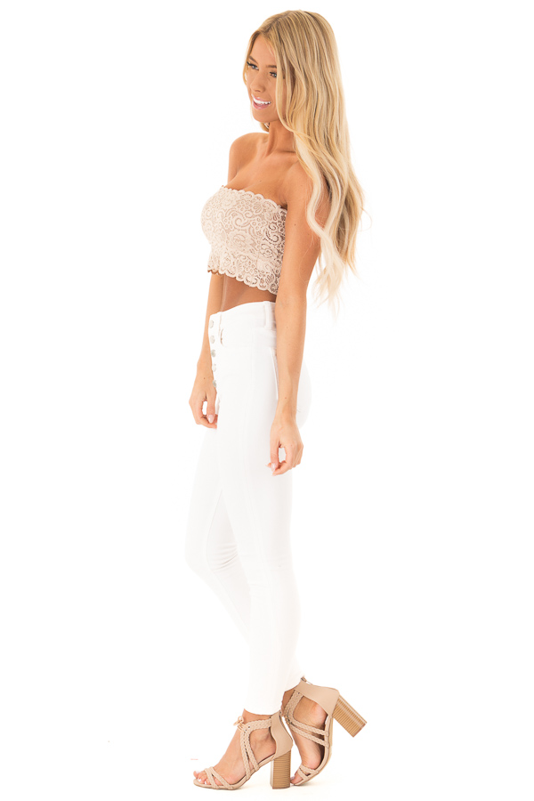 Nude Lace Bandeau Bra with Scallop Detail side full body