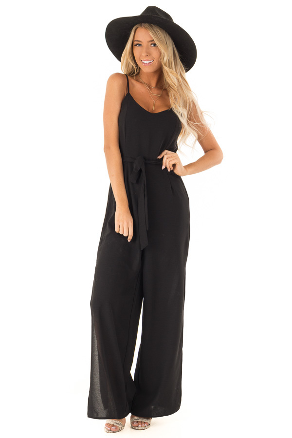23d935391431 Midnight Black Cami Jumpsuit With Waist Sash and Leg Slits front full body