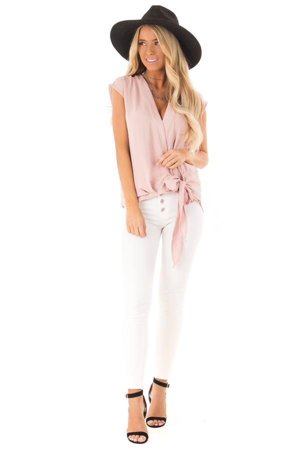 Dusty Rose Wrapped Short Sleeve Blouse with Side Tie front full body