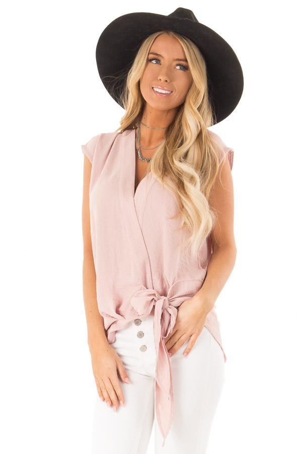 Dusty Rose Wrapped Short Sleeve Blouse with Side Tie front close up