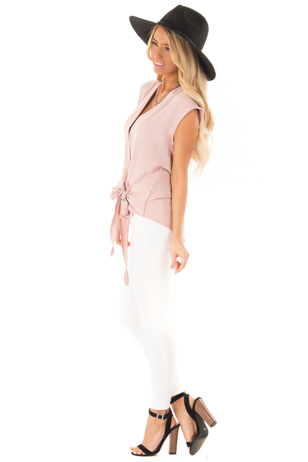 Dusty Rose Wrapped Short Sleeve Blouse with Side Tie side full body