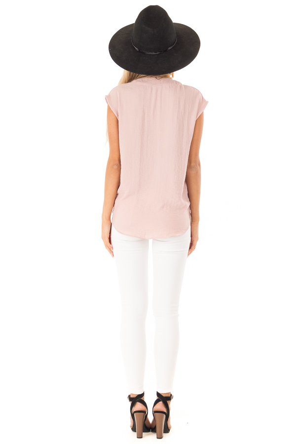 Dusty Rose Wrapped Short Sleeve Blouse with Side Tie back full body