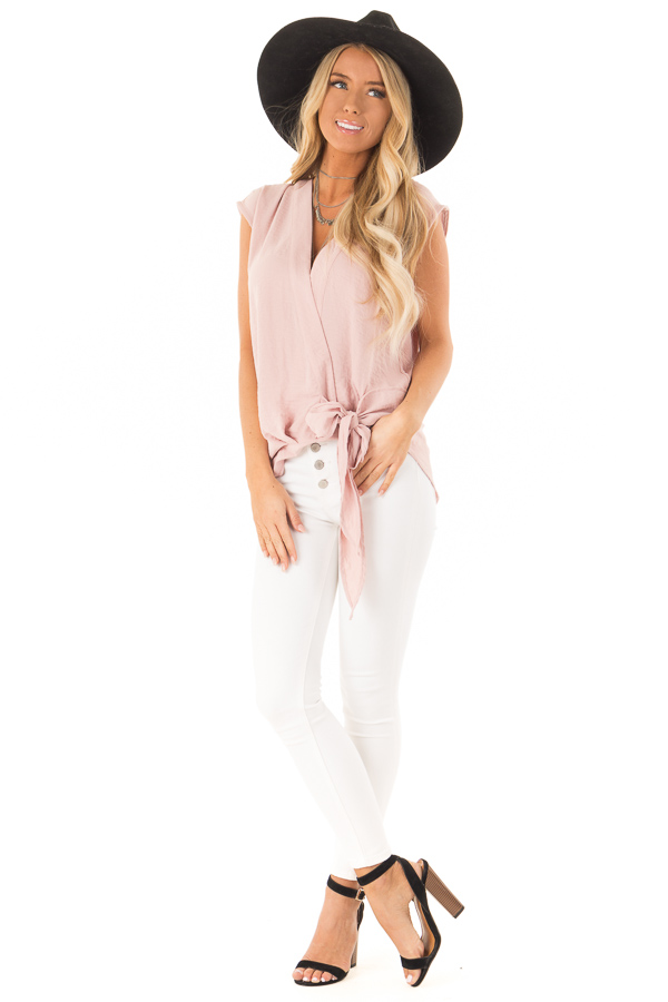 fb9bfa3e868e03 Dusty Rose Wrapped Short Sleeve Blouse with Side Tie front full body ...