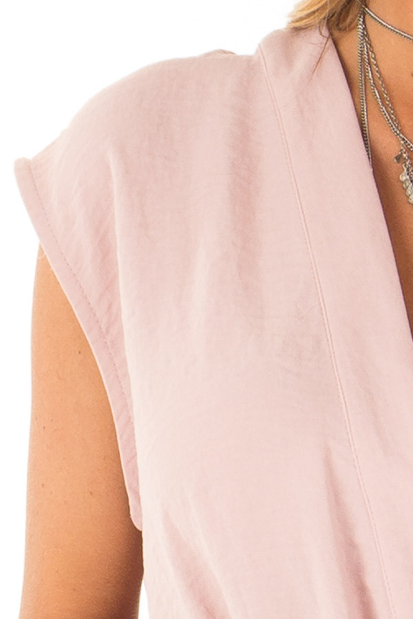 96153b6065edef Dusty Rose Wrapped Short Sleeve Blouse with Side Tie - Lime Lush ...