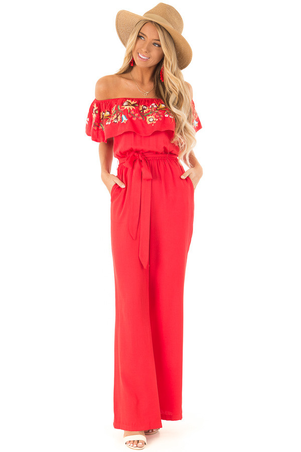 Tomato Red Off the Shoulder Floral Embroidered Jumpsuit front full body