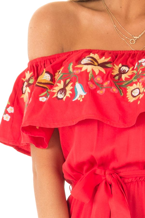 Tomato Red Off the Shoulder Floral Embroidered Jumpsuit detail