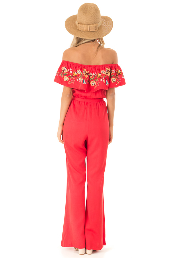 Tomato Red Off the Shoulder Floral Embroidered Jumpsuit back full body
